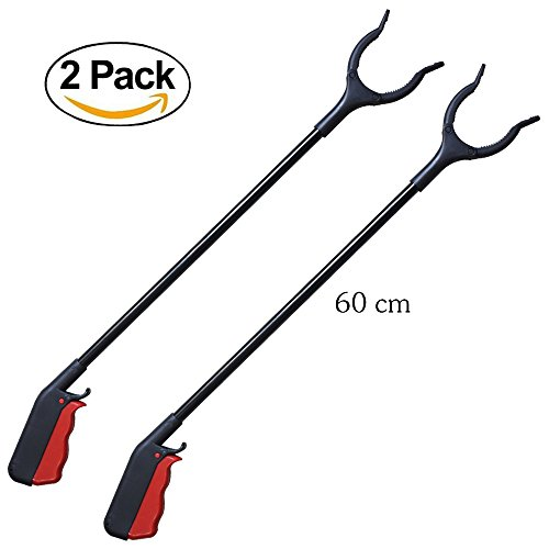[2-Pack]24'' Grabber Reacher | Rotating Gripper | Mobility Aid Reaching Assist Tool | Trash Picker, Litter Pick Up, Garden Nabber, Arm Extension | Ideal for Wheelchair and Disabled Ergonomic Lightweigh by BTHEONE