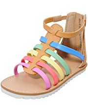 MIXIN Toddler/Little Kid Girls Gladiator Sandals with Strappy Ankle High Back Zipper