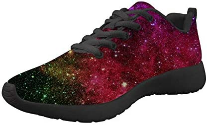 Horeset Women Men Fashion Galaxy Print Running Shoes Light Weight Breathable Athletic Tennis Sneakers