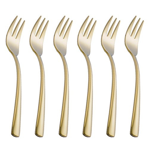 Onlycooker 6 Piece Gold Cake Fork Set 5.8-inch Stainless Steel Oyster Cocktail Forks Set for 6 Silverware Sets Flatware Utensils Dinnerware Mirror Polished Dishwasher ()