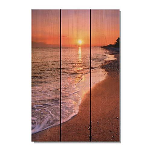Gizaun Art SUB1624 Sunset Beach 16-Inch by 24-Inch Wall Art, Inside/Outside, Full Color Cedar by Gizaun Art (Image #1)