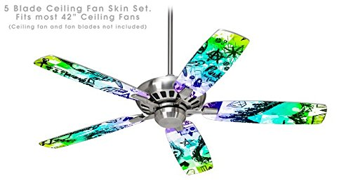 Scene Kid Sketches Rainbow - Ceiling Fan Skin Kit fits most 42 inch fans (FAN and BLADES NOT INCLUDED)