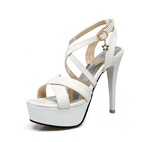 Heeled Heeled Solid Sandals MJS02488 Womens White Urethane Charms 1TO9 Sandals 5SAnYwB