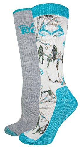REALTREE Women's Snow Camo Wool Blend Socks, Teal Camo, Medium (Wool Camo Sock)
