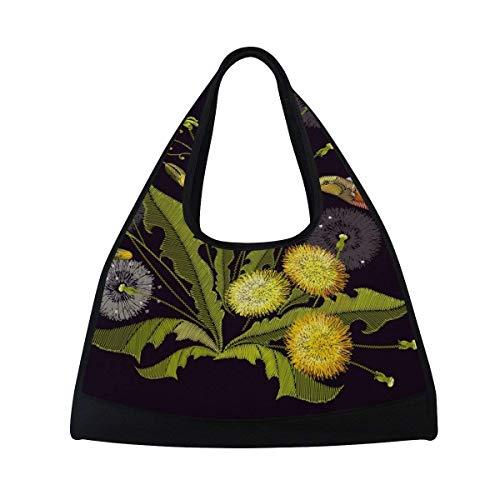 Sport Gym Bag Flower Leaf Dandelion Hummingbird Canvas Travel Duffel Bag by KMAND