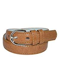 CTM® Kid's Leather 1 inch Basic Dress Belt, Large, Tan