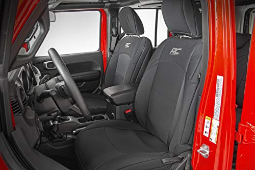 Rough Country 91002A Neoprene Seat Covers 2007-2010 4 Door | (fits) 2008-2010 Jeep Wrangler JK | 1st/2nd Row/Water Resistant