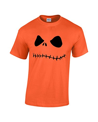 [Crazy Bro's Tees Orange Jack O' Lantern Pumpkin Face Halloween Costume Funny Men's T-shirt (X-Large,] (Madeline Halloween Costume Ideas)