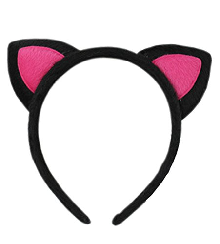 [Women Lolita Style Cute Cat Ears Hairband Black&rose red (black&rose red)] (Sexy Hello Kitty Costumes)
