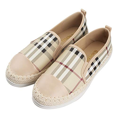 Tengyu Leather Slip On Flat Womens Fashion Sneakers Plaid Loafers Espadrilles Comfort Driving Holiday Shoes Beige