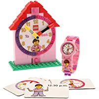 LEGO conjuntos de Profesor de Tiempo con reloj, reloj, Constructible de plástico y actividad Tarjetas, Time Teacher, Rosado