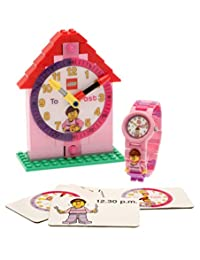 LEGO Time Teacher Set Pink with Minifigure Link Watch, Constructible Clock and Activity Cards 9005039