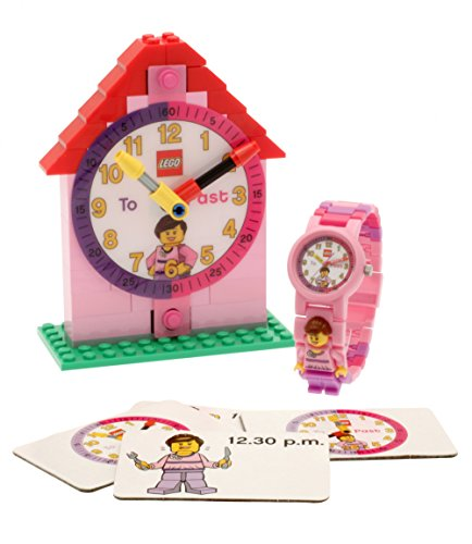 LEGO Plastic Childrens Clock, Color:Pink (Model: 9005039)