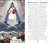 "Prayer to Our Lady of Charity, Package of 100 Paper Holy Cards, with Prayer on Reverse Side. Size Approximately 2"" X 4"". Printed in Italy."