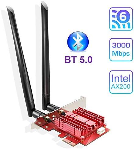 EDUP Carte WiFi 6 Adaptateur 3000Mbps, Carte réseau PCIe Intel AX200 2.4Ghz/5Ghz avec Bluetooth 5.0 & Dissipateur de Chaleur Adaptateurs PCI Express sans fil 6dBi Antenne pour Windows 10 64-bit