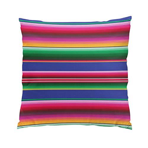 Sokiiy Bright Happy Mexican Serape Print Modern Hidden Zipper Home Sofa Decorative Throw Pillow Cover Cushion Case European Square 26x26 Inch Two Sides Design Printed Pillowcase by Sokiiy