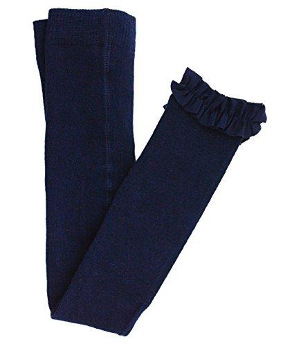 RuffleButts Little Girls Navy Footless Ruffle Tights - 4T-6]()