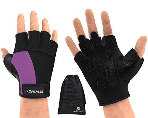 ProFitness guantes para Gym Mujer bar Grips Gloves Women Bike Gloves Men Half Finger Weightlifting Gloves Men WOD and Done Womens Lifting Gloves Knee Sleeves Road Bikes for Men (Medium, Black/Purple)