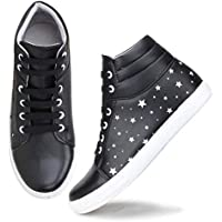 Zapatoz Women's/Ladies/Female's Synthetic Leather Black Casual Ankle Boots Fit Shoes/Casual Ankle Boots Running/Gym Shoes_(zap7607-Black-39)