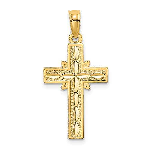 14k Yellow Gold Etched Cross Religious Pendant Charm Necklace Latin Fine Jewelry Gifts For Women For Her 14k Gold Etched Cross