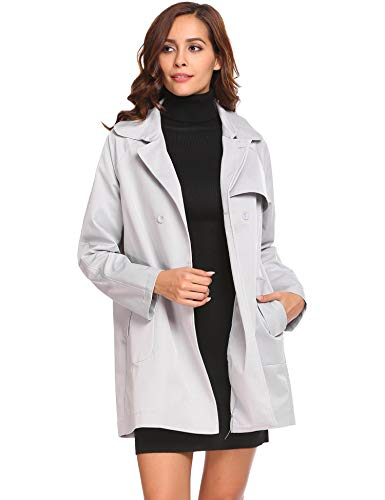 Zeagoo Womens Double Breasted Windbreaker Stylish Slim Fit Mid Long Belted Trenchcoat Grey (Length Mid Belted Coat)