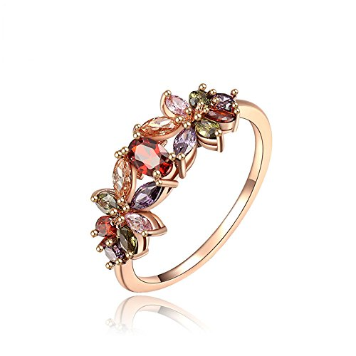 Winter.Z Noble and Elegant Ladies Jewelry Popular Explosion Models Rose Gold Color Diamond Pansy Ring Wedding