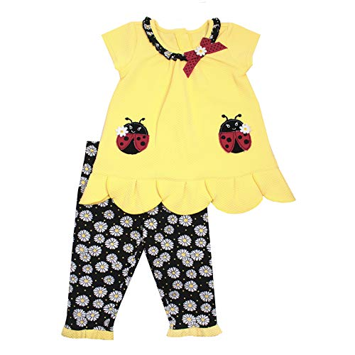 Nanette Girls 2PC Leggings and Shirt Set with Wide Variety of Flowers, Butterfly, and Animals Yellow Ladybug]()