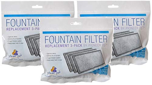 Pioneer Pet 3 Pack of Replacement Filters for Plastic Fountains, 3 Filters Per ()