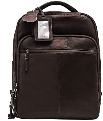 Renwick Genuine Leather Backpack Dark Brown
