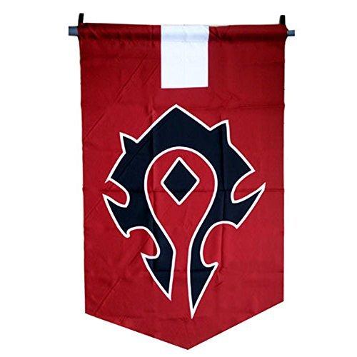 LinkStart Horde Alliance Badge Banner Flag Orc Emblem Poster (Red) (Horde Flag)