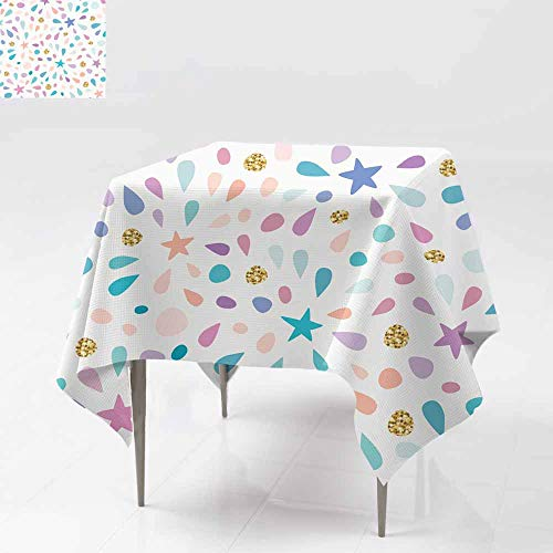 AFGG Washable Square Tablecloth,Festive Seamless Pattern with Glitter Confetti Stars a,for Banquet Decoration Dining Table Cover 70x70 Inch nd spl Ashes for Birthday Celebration ()