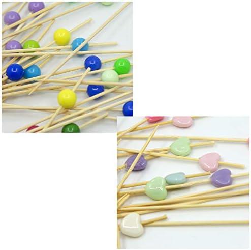 200 Cocktail Stick Cocktailspieße Spieße Holz Zahnstocher Fruchtstangen Bambus Picks Food Sticks 12cm (Goldene, weiße)