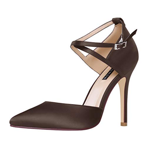 (ERIJUNOR E2264 Women High Heel Ankle Strap Satin Pumps Evening Prom Wedding Shoes Dark Brown Size)