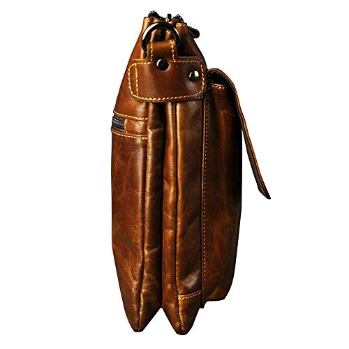 Genda 2Archer Pequeño Bolso de Cuero del Mensajero del Teléfono Móvil del Bolso para los Hombres (20cm * 8cm * 24cm)