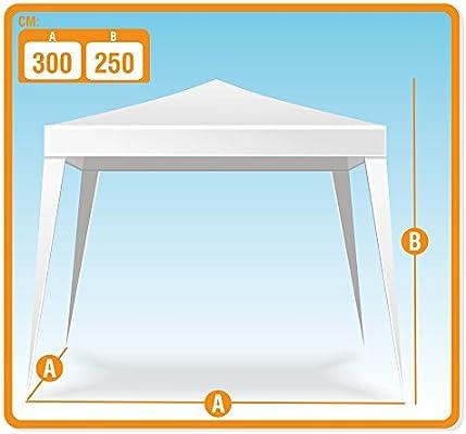 Aktive - Cenador de 300 x 300 x 250 cm, plástico, color blanco ...