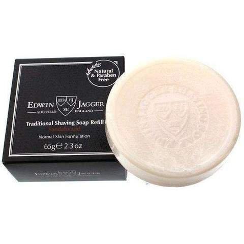 Edwin Jagger 99.9% Natural Traditional Shaving Soap Refill, Sandalwood - 2.3 oz