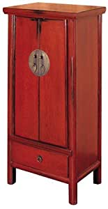 """Unique Japanese Chinese Asian Furniture - 43"""" Tall Red Ming Lamp Table Bedside Cabinet End Table Nightstand"""