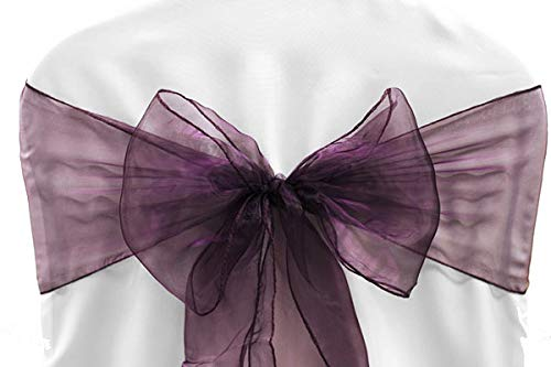 VDS - 25 PCS Elegant Organza Chair Bow Sashes Bows Ribbon Tie Back sash for Wedding Party Banquet Decor - Plum -