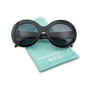 Women's Oversized Thick Round Bold MOD Fashion Jackie O Inspired Sunglasses (Black, Black)
