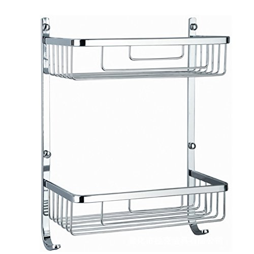 Wall-Mounted 2-Tier 304 Stainless Steel Large Shower Caddy Shelf Basket Silver