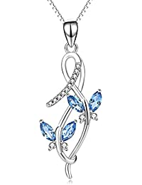 Sterling Silver Infinity Butterfly Pendant Necklace Fine Jewelry for Women