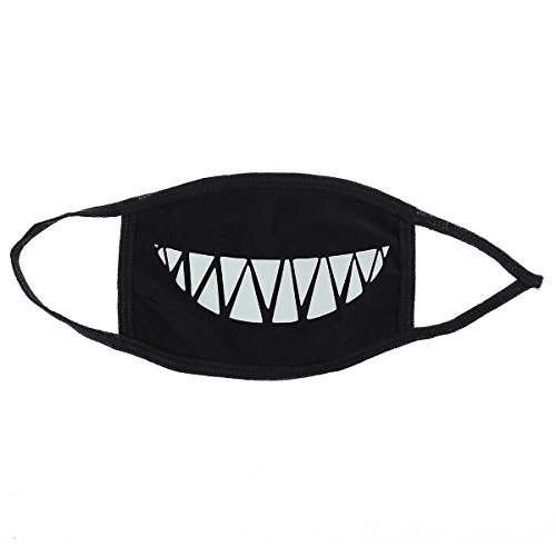 ULTNICE Unisex Mouth Face Mask Anti-Dust with Teeth Luminous Reusable Surgical Mask (Black Face Mask Halloween)