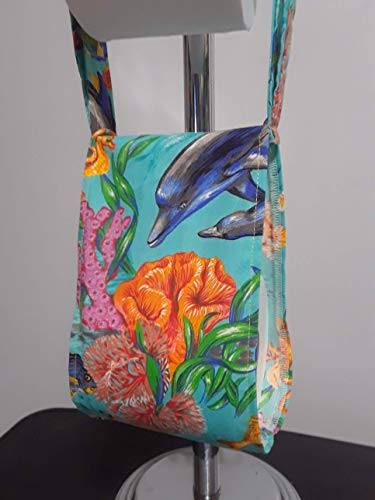Sea Life Dolphin Fish Print Fabric Spare Bathroom Tissue Holder -