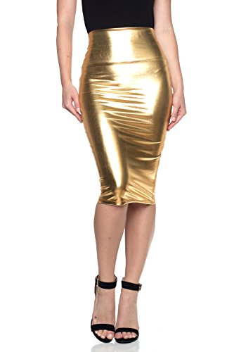 Cemi Ceri Women's J2 Love Made in USA Faux Leather Pull on Midi Pencil Skirt, L -