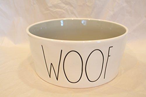 Dish Woof Dog - Rae Dunn Magenta Ceramic Extra Large Pet Food Bowl Cat Dog Dish Woof - Cream/Light Grey
