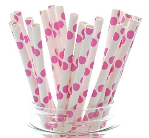Fuchsia Hot Pink Polka Dot Designer Straws - 25 Pack - Wedding Candy Buffet Decorations, Dessert Bar Party Supplies, Pink Polka Dot (Bar Mitzvah Candy Bar)