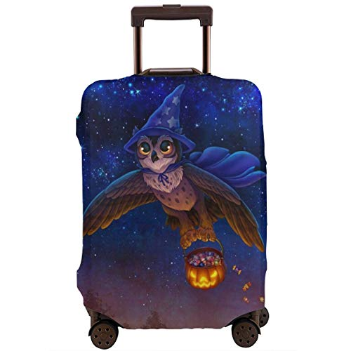 Travel Luggage Cover Suitcase Protector Spandex Washable Zipper Baggage Covers Halloween Magic Owl Pumpkin Flying Fits 18 To 32 Inch ()