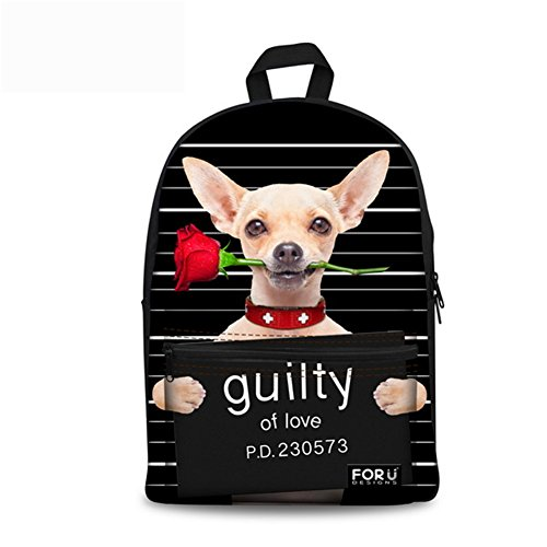 FOR U DESIGNS Cute Chihuahua Canvas Animal Bookbag School Backpack for Teens