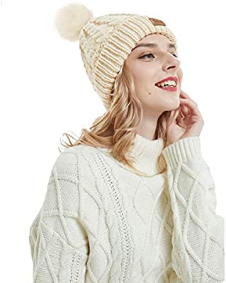 92a24675c OMECHY Women's Winter Knit Hat Trendy Slouchy Beanie with Warm Fleece  Lining Skull Chunky Soft Thick Cable Ski Cap in 5 Color