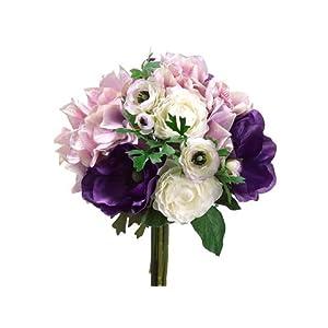"11"" Hydrangea/Ranunculus/ Anemone Bouquet Purple Lavender (Pack of 6) 8"